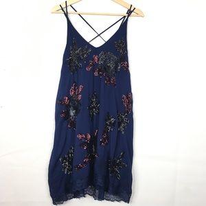 Free People Sequin Cluster Lace Hem Shift Dress